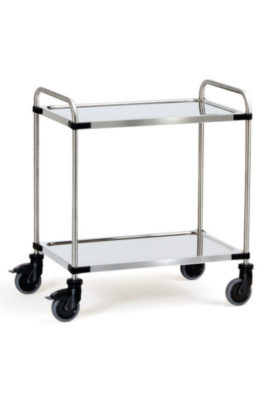 Chariot roll inox 2 plateaux